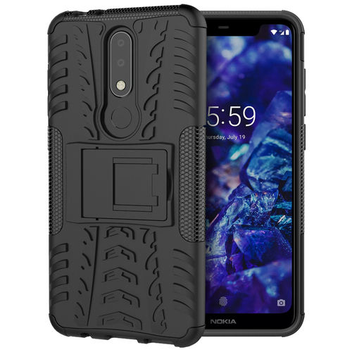 Dual Layer Rugged Tough Case & Stand for Nokia 5.1 Plus - Black